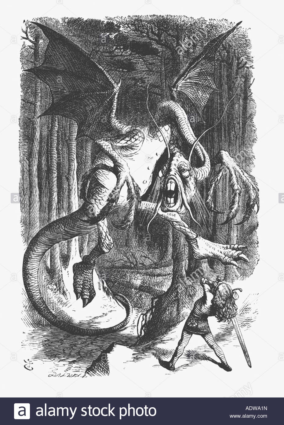 illustration-of-the-jabberwock-from-lewis-carroll-s-alice-through-ADWA1N