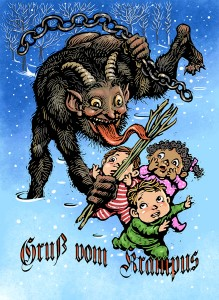 The 2016 version of my annual Krampus postcard that I send out as a holiday greeting every year. Click on image to see larger version.