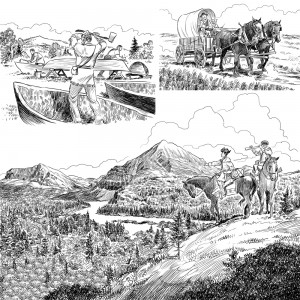 3 of a series of 80 illustrations for the book 'What Was the Lewis & Clark Expedition?' for Penguin Young Readers. Click on the image for a larger version.