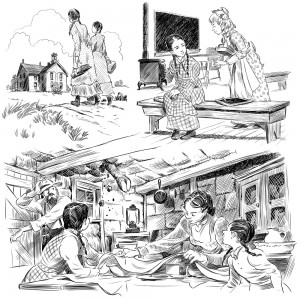 "3 of a series of 80 illustrations for the book 'Who Was Laura Ingalls Wilder?"" for Penguin Young Readers. Click on the image to see a larger version."