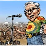 Caricature of Warren Buffett as 'Joe Cocker at Woodstock' for the Wall Street Journal, 2011. Click on image to see larger version.