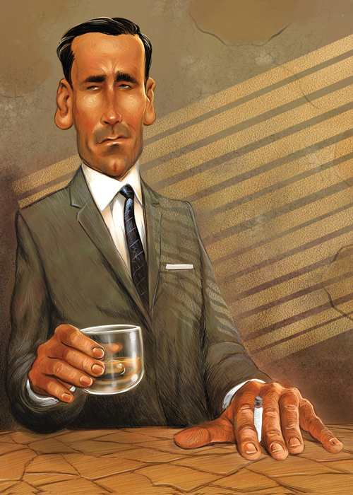 self promo piece, portrait of Jon Hamm, 2011