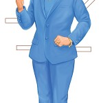 Hillary Clinton wearing one of her 'pantsuit costumes' from the 'Hillary Clinton Paper Doll Campaign Edition' book for Dover Publications, 2016. Click on the image to see a larger version.